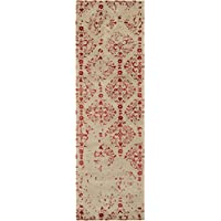 2.5 x 8 Distressed Victorian Scroll Orange-Red and Barley Wool Area Throw Rug