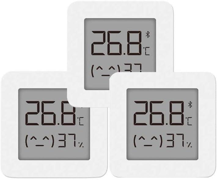 Dewanxin Termómetro e Higrómetro Bluetooth,para Xiaomi Mijia Termómetro Higrómetro Digital para Interior Termohigrómetro,con Pantalla LCD Remota,para Mijia, Hogar,Casa de Flores, Cocina 3 pack