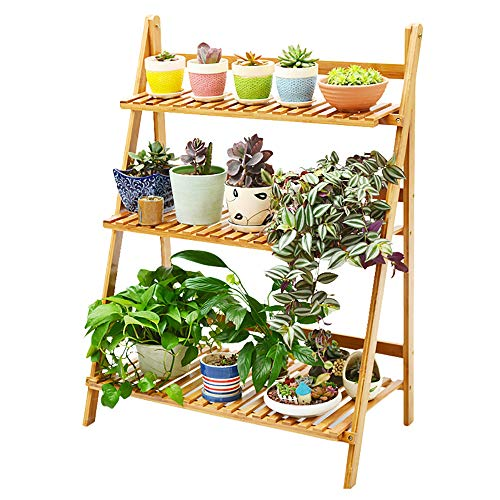 MallBoo 3-Tier Bamboo Ladder Plant Stand,Plant Shelf with Foldable and Multipurpose for Outdoor/Indoor