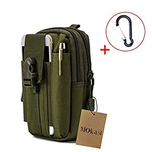 Mokasi@1000D Pouch Nylon Tactical Molle Bag Militarywith a belt loop Utility Waist Pack Pocket Money Purse for iphone 6s 6 plus 5s 5c Samsung Galaxy Note 5 4 3 LG G4 G3 (Army Green)