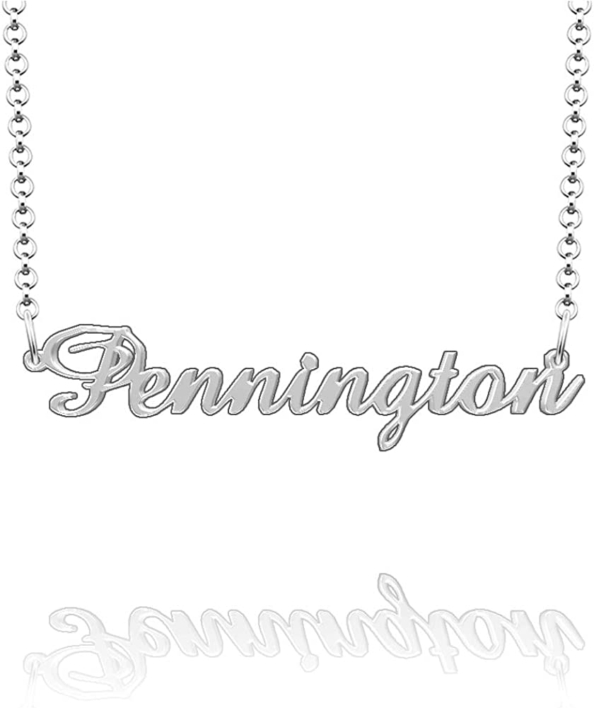 CLY Jewelry Personalized Last Name Necklace Custom Sterling Silver Pennington Plate Customized Gift for Family