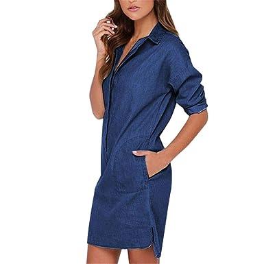 0e04c89bcb5 Angelof Blouse Femme Chemises Chic DéContractéE Manches Longues Denim Jeans  Robe Tee Shirt Top Vetement (