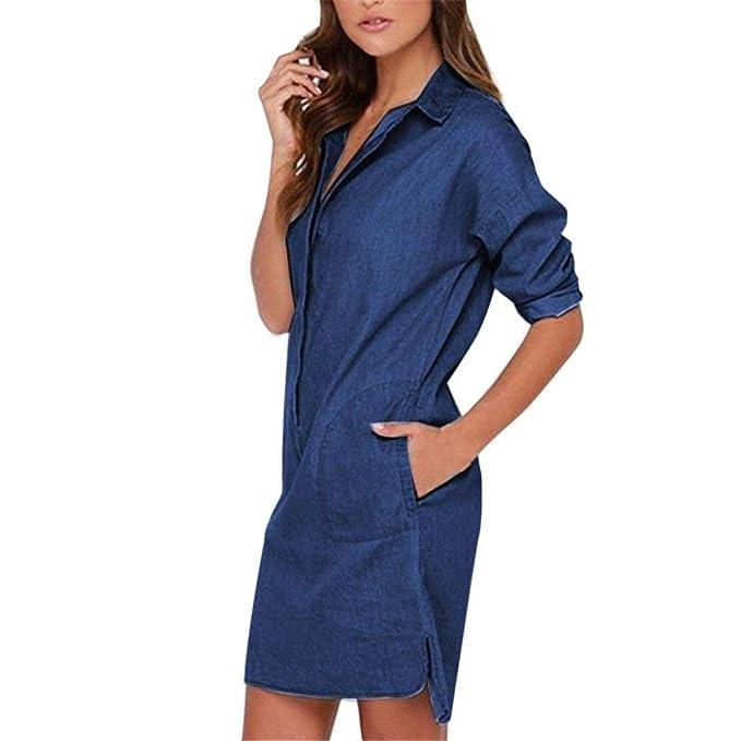 af1d9aa25e6cc ABCone-Donna Pullover Felpa Denim di Risvolto Abito Jeans T-Shirt Maniche  Lunghe Elegante Autunno Camicette Camicie Casual Tops  Amazon.it   Abbigliamento