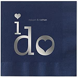 I Do Personalized Beverage Cocktail Napkins - Canopy Street - 100 Custom Printed Navy Blue Paper Napkins with choice of foil stamp