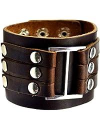 "<span class=""a-offscreen"">[Sponsored]</span>Vintage Brown Leather Wide Bracelet"