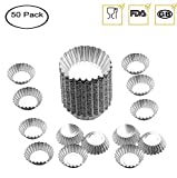 Egg Tart Mold Baking Cups Tins,50pcs Aluminum Mini Pie Pans Muffin Baking Cups Cupcake Cake Cookie Lined Mould Tin Baking Tool