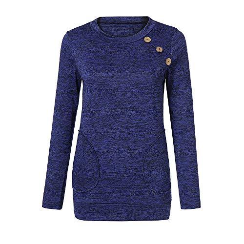 Daily Manches Poche Hauts Tonsee Longues dcontracte Chemisier Bleu Fluide Femme Couture Tunique Chemise Chemise cYEZEwqS1