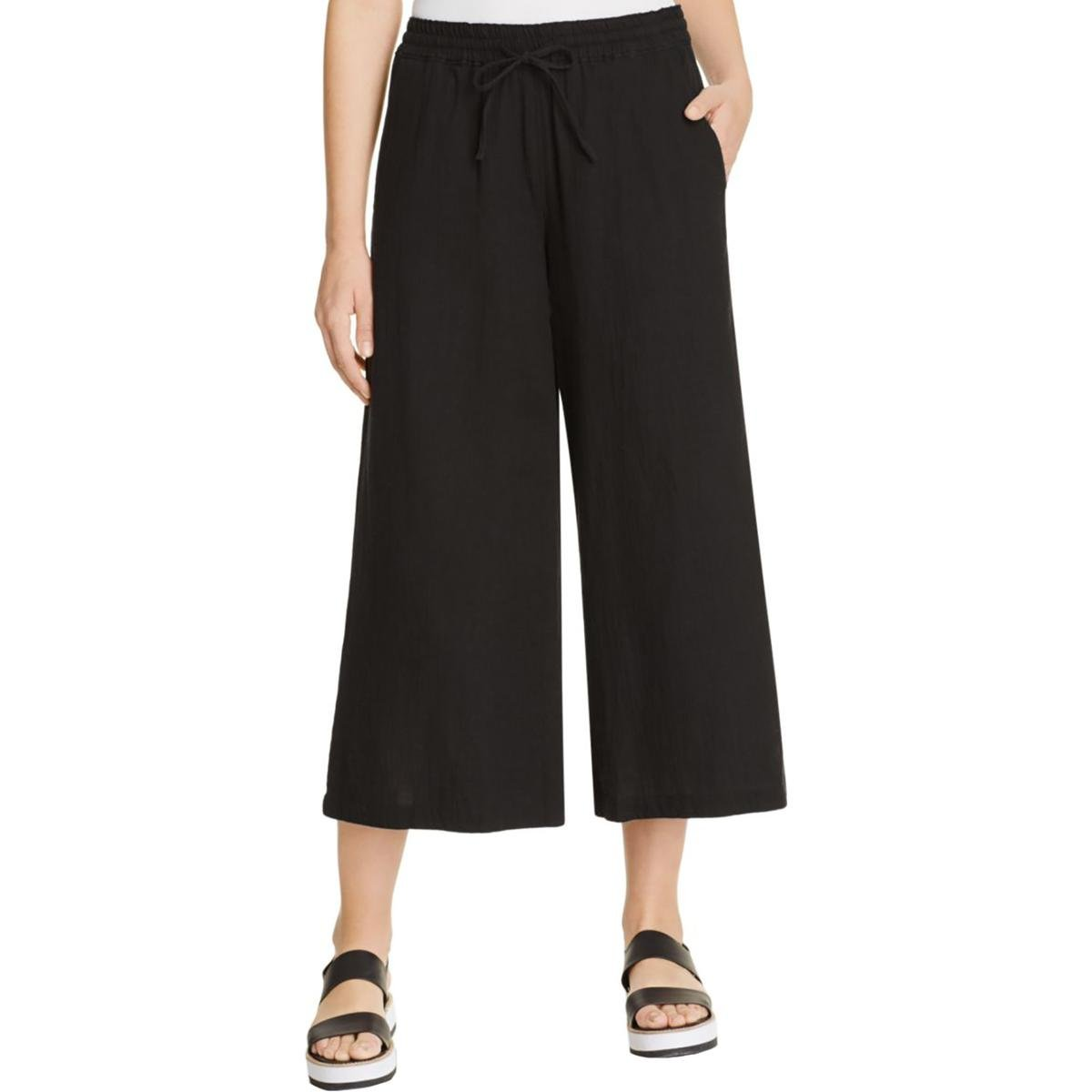 Eileen Fisher Womens Petites Organic Cotton Wide Leg Cropped Pants Black PS