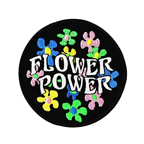 Daisy Flower Power Patch 60s Hippie Peace Badge Embroidered Iron On Applique