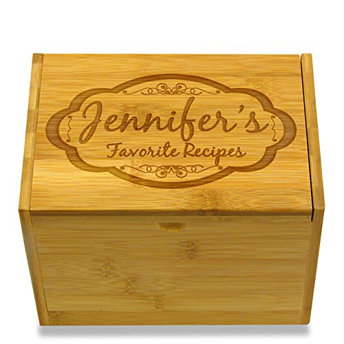 (Moderna Design Engraved Recipe Box Personalized Option for 4x6 Cards - Includes Dividers)