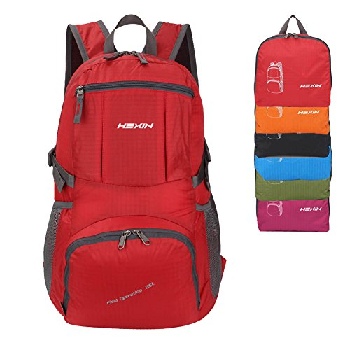 HEXIN Water Backpack 35L Foldable Lightweight Handy Backpack Red