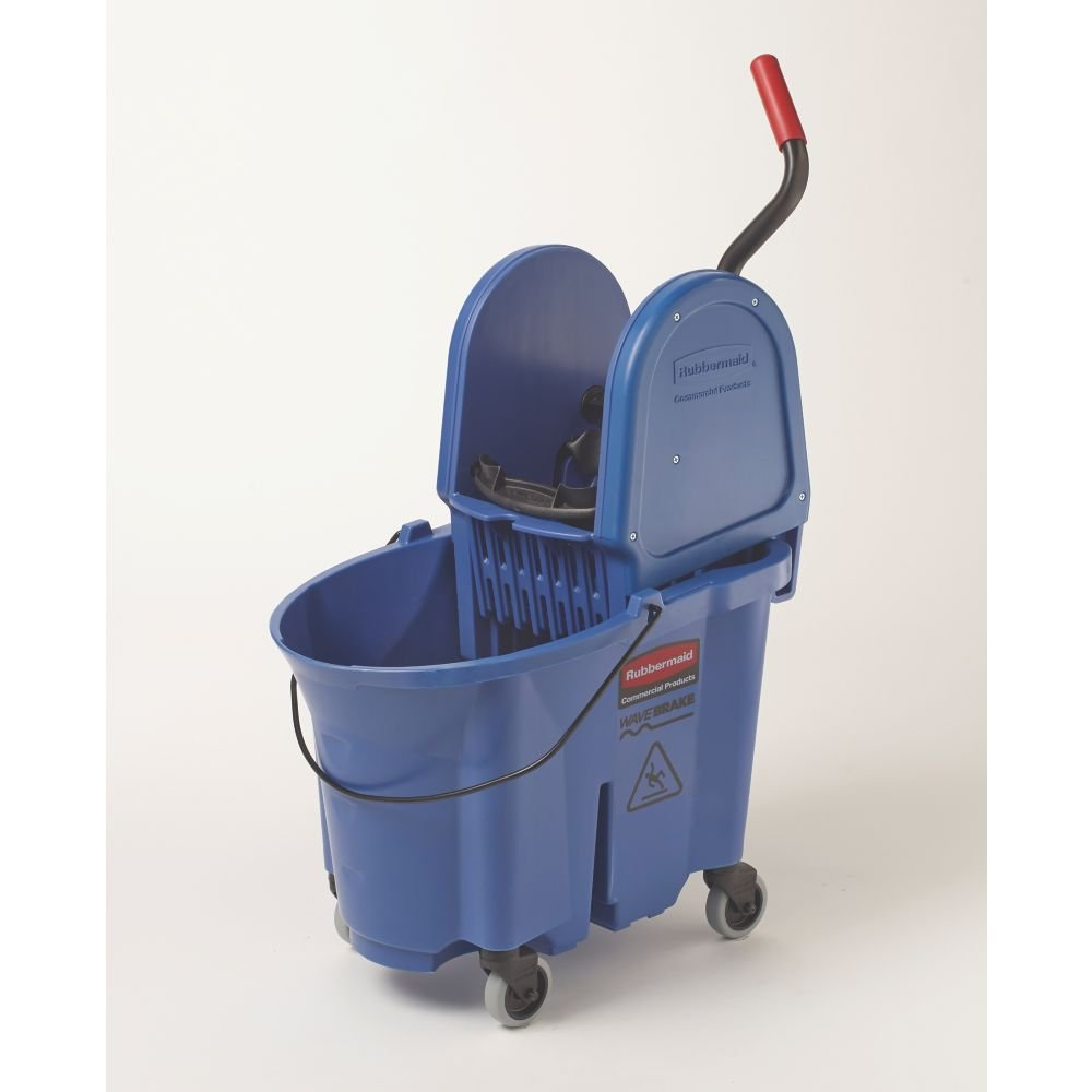 Rubbermaid Commercial WaveBrake 35 QT Down-Press Bucket and Wringer, Blue, (FG757888BLUE) by Rubbermaid Commercial Products (Image #2)
