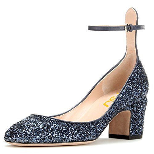 FSJ Women Retro Ankle Strap Mid Heels Dress Pumps Almond Toe Patent Leather Shoes Size 9 Blue -