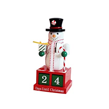 Xmas Wooden Nutcracker Wood Figurine Santa Snowman Christmas Desktop Decor Props