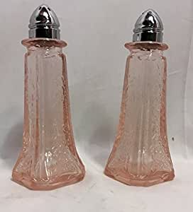 Salt and Pepper Shaker Set - Eiffel Tower Shape - Pink Floral Depression Glass Style with Tin Tops