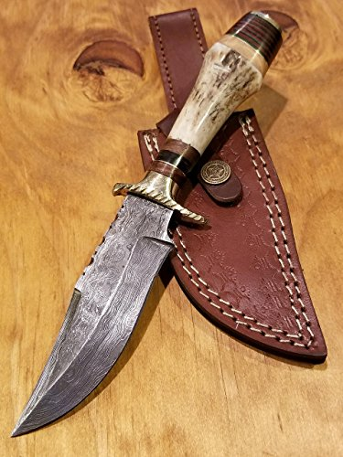 Stag Deer Handles (Handmade Deer Antler Handle Hunting Knife Damascus Blade Stag Collection With Leather Sheath Premium (A212))