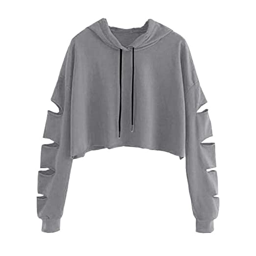 73e33f843737d Women Hoodie Long Sleeve Pullover Teen Girls Cute Crop Tops Solid  Sweatshirts Casual Hollow Jumper Blouse. Roll over image to ...