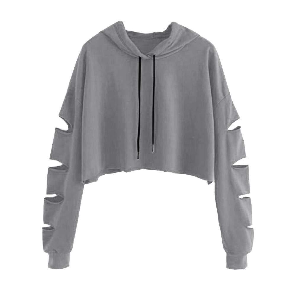 Women Hoodie Long Sleeve Pullover Teen Girls Cute Crop Tops Solid Sweatshirts Casual Hollow Jumper Blouse Shirts Gray