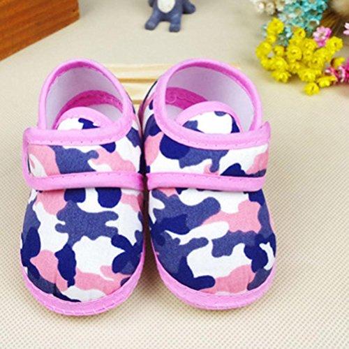 BZLine® Neugeborenen Camouflage Mädchen junge weiche Sohle Krippe Schuhe Canvas Sneaker Pink