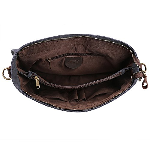 Gray Shoulder Mens Bag Traveling Vintage Deep Briefcase L Handbag Coffee Canvas ZONE Messenger Laptop S Leather ZUq8a8