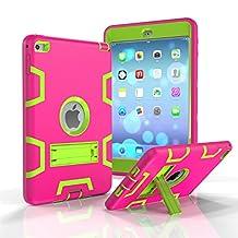 iPad Mini 4 Case,MAKEIT [Kickstand Feature],Shock-Absorption / High Impact Resistant Armor Defender Case For iPad Mini 4(Rose/Fluorescent green)