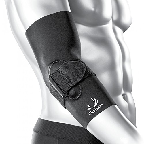 BioSkin Tennis Elbow Brace - Elbow Compression Sleeve with Support Strap and Gel Pad - For Tennis Elbow and Golfer's Elbow and Tendinitis (XS)