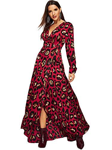 Milumia Women Leopard Print Surplice Wrap Maxi Split Dresses Long Sleeves Burgundy XL
