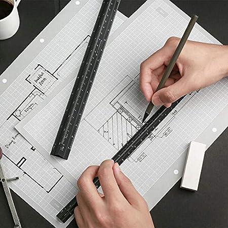 gold Architekten und Ingenieure 6 Skalen Draftman Senris Dreieckiges Ma/ßstab-Lineal 30 cm Aluminium-Kunststoff-Lineal f/ür Studenten