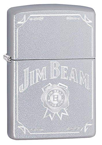 (Personalized Zippo Jim Beam Satin Chrome Windproof Lighter Free Engraving #49005)
