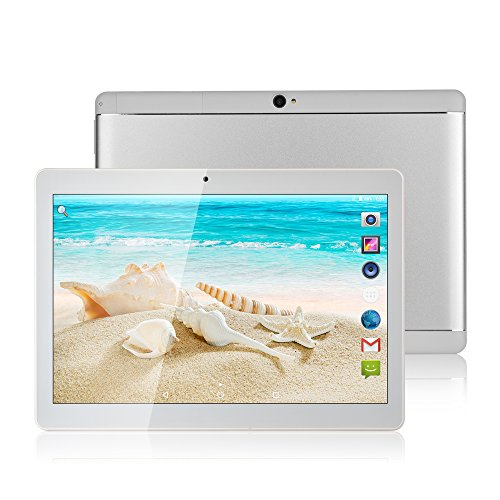MaiTai Tablet Pc 10 Inch Android 7.0 Tablets PC Octa Core Dual sim Card Phone Call GPS Bluetooth 64G ROM 4G RAM 8 9 7 3G+WiFi Metal Back Cover Silvery by MaiTai