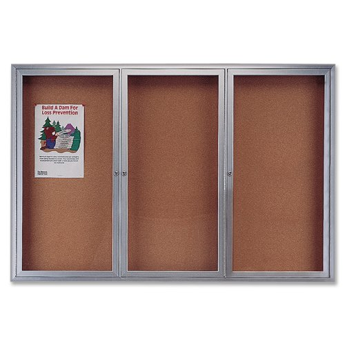 Quartet Enclosed Cork Indoor Bulletin Board, 6 x 3 Feet, Aluminum Frame (2366) (Enclosed Bulletin Aluminum Board Indoor)