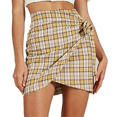 FLCH+YIGE Women's Casual Plaid High Waist Bow Knot A-line Mini Skirt