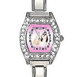 BMCZ116 Shih Tzu Dog CZ Lady Stainless Steel Italian Charms Bracelet Wrist Watch