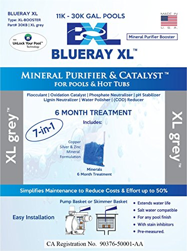 Blueray XL - XL Grey   Mineral Purifier & Catalyst for Pools and Hot Tubs (Blue-ray-xl)