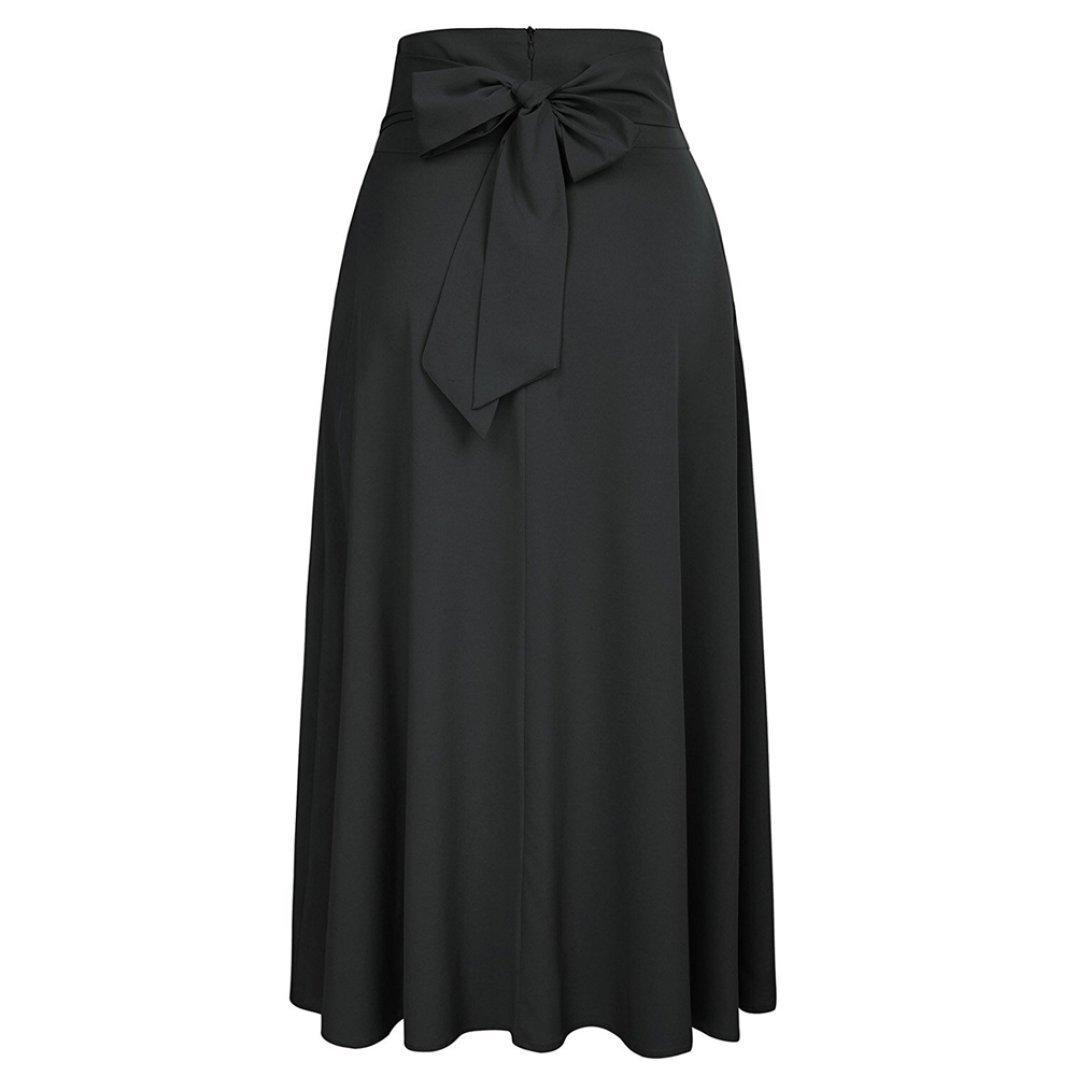 Women Maxi Skirt-High Waist Pleated A-Line Long Skirt Front Slit Belted Skirt (S-XXL) by Jinjin (Image #3)