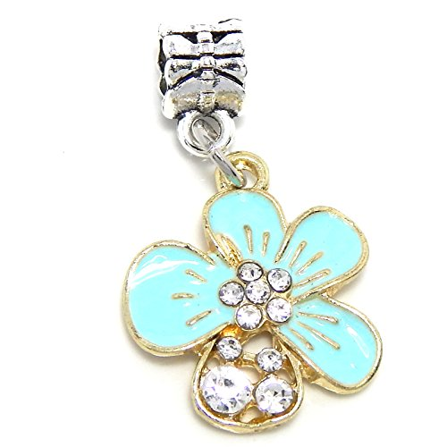 Rhinestone Flower Charm Bead - Silver Plated Gold Tone Dangling
