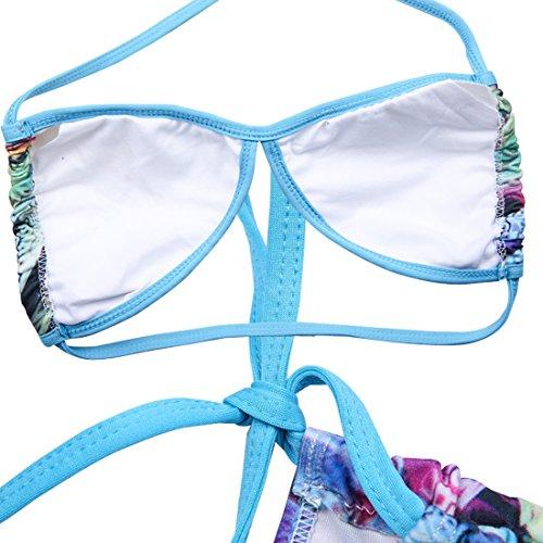 SiDiOU Group Pantalones de alto estilo brasileño elástico Bikini de encaje lateral empuje hasta la cintura baja traje de baño de impresión Swimsuit Mujer conjunto de dos piezas de bikini Azul