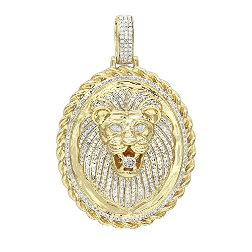 Men's Medallion 14K Rose, White or Yellow Gold Real Diamond Lions Head Pendant 1ctw (Yellow - Pendant Flower Gold Diamond White