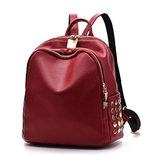 Mochila gran capacidad mochila de cuero pu mujeres Adolescentes Bolsa escuela estilo metálico mochila viaje Rojo Bolsos Mochila Rojo Bolsos Mochila