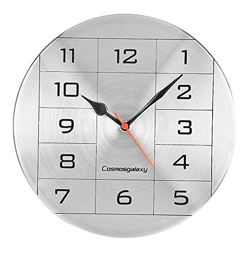 Cosmos Galaxy Numeric Steel Wall Clock (25 cm x 3 cm x 25 cm, Silver and Black)
