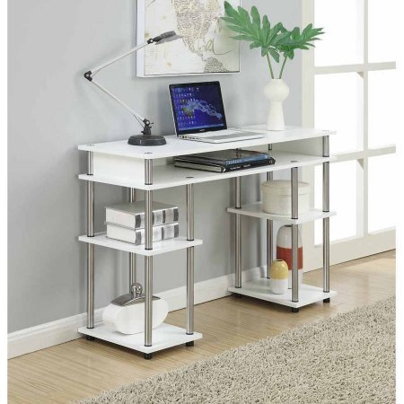 White Student Desk by Convenience Concepts Design with Multiple Storage Shelves and Stainless-Steel Poles, Great for Home or Office by Convenience Concepts