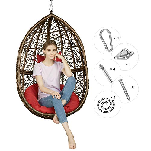 Greenstell Rattan Wicker Egg Hammock Chair with Hanging Kits,Weather Fastness Hanging Chair with Comfortable Red Cushion and Pillow,Basket Swing Chair for Indoor,Outdoor Bedroom,Patio,Garden (Brown) (Wicker Hanging Egg Chair Offers)