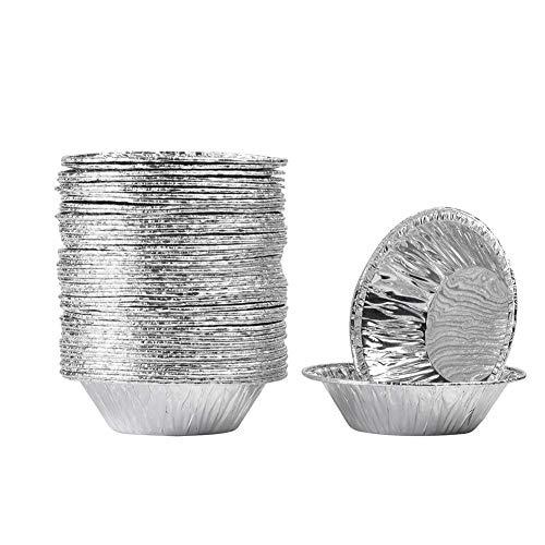 Ciaoed 50 Pcs 2.9 Egg Tart Tin, Disposable Aluminum Foil Cups Pan 0.8 Deep, Mini Pie molds, Silver