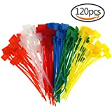 pc wires - CREATRILL 120 Pcs 6 Colors Nylon Cable Marker Ties Self-locking Cord 5 inches Write on Ethernet Wire Zip Mark Tags Nylon Power Marking Label