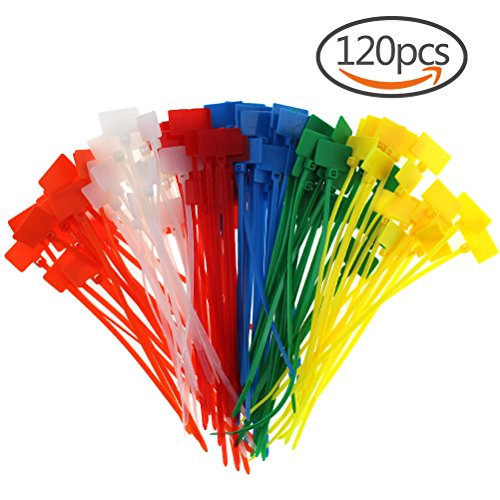CREATRILL 120 Pcs 6 Colors Nylon Cable Marker Ties Self-locking Cord 5 inches Write on Ethernet Wire Zip Mark Tags Nylon Power Marking (Pcs Color)
