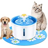NOBGP Cat Water Fountain LED Indicator 1.6L Automatic Pet Fountain Dog Water Dispenser Hygienic with Replacement Filters Silicone Mat for Cats Dogs Multiple Pets