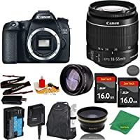Great Value Bundle for 70D DSLR – 18-55mm STM + 2PCS 16GB Memory + Wide Angle + Telephoto Lens + Backpack