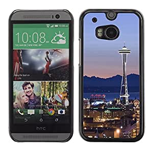Graphic4You Seattle Washington USA Postcard Design Hard Case Cover for HTC One (M8)