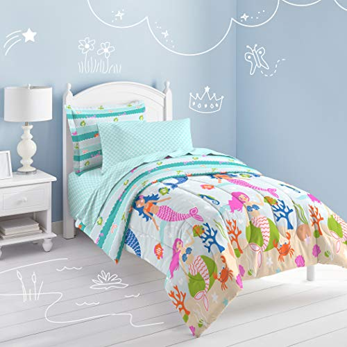 Under The Sea Kids Bedding - 5 Piece Kids Girls Teal Blue Pink Mermaid Comforter Twin Set, Swimming Mer Maid Bedding Under Water Sea Life Colorful Coral Crab Seashells Seahorse Trellis Pattern Ocean Themed, Microfiber Polyester