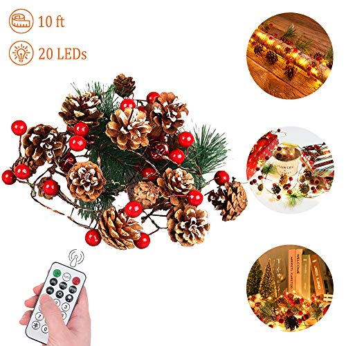 Xmas Garland Lights, 10 Feet 20 LED Red Berry with Pine Cone Garland Lights Battery Operated Garland Indoor Outdoor Garden Gate Home  Xmas Decoration Lights for Winter Holiday Decor (Range Garland Outdoor)